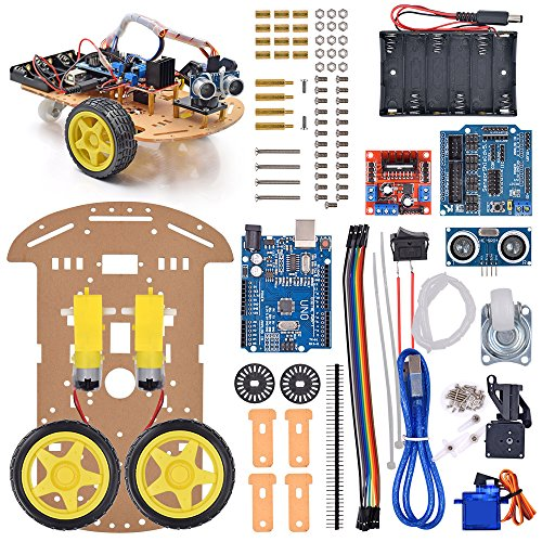 VKmaker New Avoidance tracking Motor Smart Robot Car Chassis Kit Speed Encoder Battery Box 2WD Ultrasonic module with tutorial CD (Best Arduino Robot Kit)
