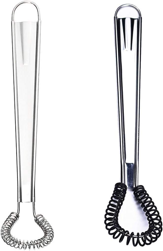 Stainless Steel Mini Spring Egg Beater Silicone Whisk Magic Hand Held Sauce Stirrer Blender Milk Frother Foamer Coffee Mixer (2Pack-Silicone+Steel coil)
