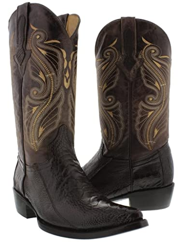Men's Black Genuine Smooth Ostrich Leg Skin Cowboy Boots J Toe