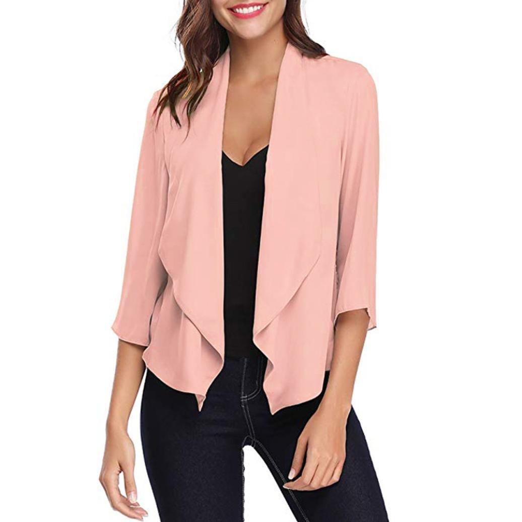 Spbamboo Womens Open Front Solid Comfy Light Chiffon 3/4 Sleeve Cardigan Coat
