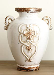 Gishima Vintage-Inspired Rustic White Ceramic Vase for Home Decor, Distressed Glazed White Decorative Vases,Great for Centerpieces, Table, Kitchen, Office or Living Room Decoration,5.1x 6.9 Inches
