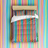 Lightweight Microfiber Duvet Cover Set With Zipper Close,Reversible Color Design Hypoallergenic Microfiber Luxury Soft Brushed with Matching Shams - Colorful Stripes