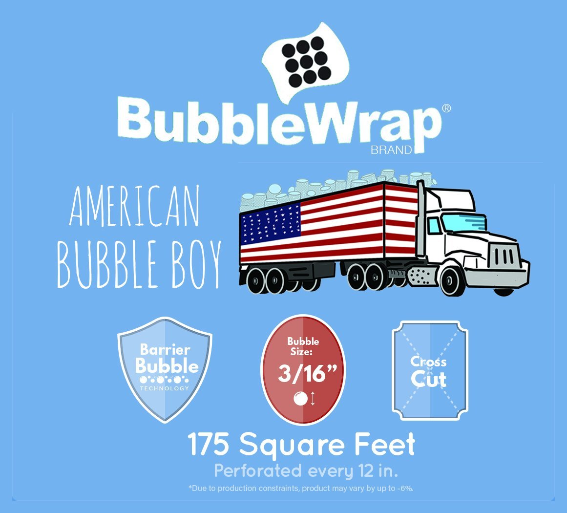 Bubble Wrap 175', Small 3/16 Cushioning, 175 ft with Perforated Every 12'' (175' Coreless Bubble Wrap)