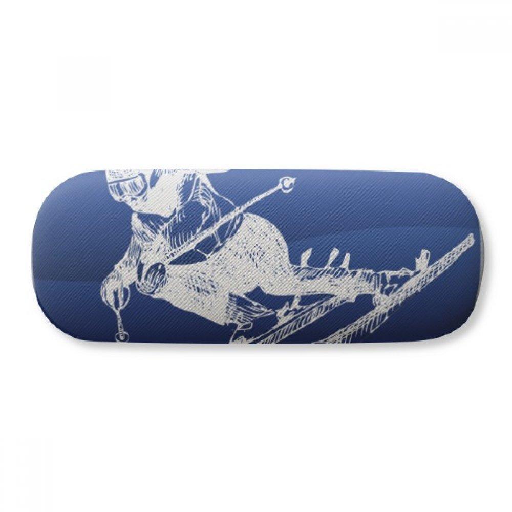 Winter Sport Skiing Retro Pattern Illustration Glasses Case Eyeglasses Clam Shell Holder Storage Box