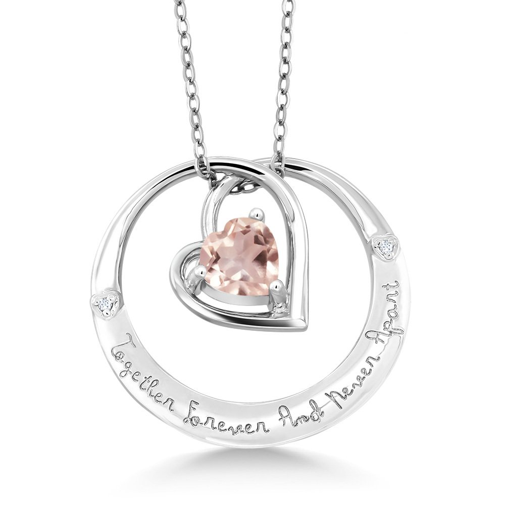 Gem Stone King 925 Sterling Silver inchesTogether Forever And Never Apartinches Rose Quartz /& Diamond Pendant