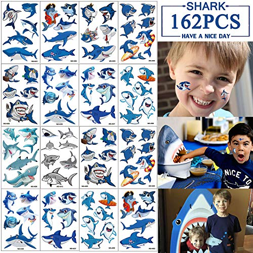 Shark Temporary Tattoos for Kids - Baby Shark/Ocean Baby Shower/Birthday Party Supplies Under the Sea Party Goodie Bag Stuffers Favors(30 Sheets) ()