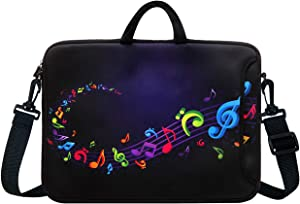 "14-Inch Neoprene Laptop Shoulder Messenger Bag Case Sleeve for 13 13.3 14 14.1"" Inch Notebook/Chromebook (Colourful Music Note)"