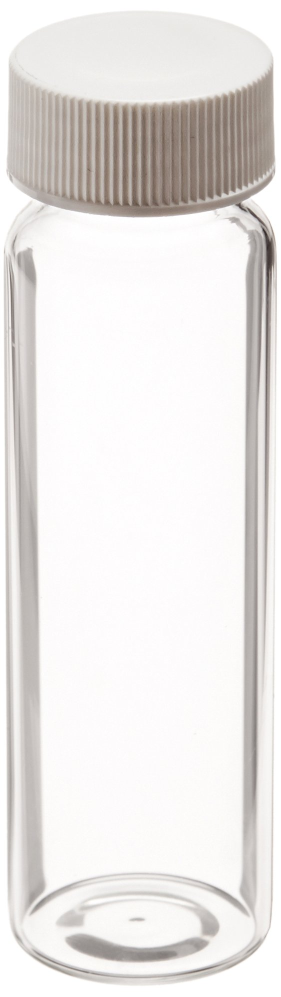 Thomas Scientific 9-120 Clear Borosilicate Glass Standard VOA Vial with White Polypropylene Solid Top Closure and PTFE Lined, 24-400mm Cap Size, 40mL Capacity (Pack of 72)