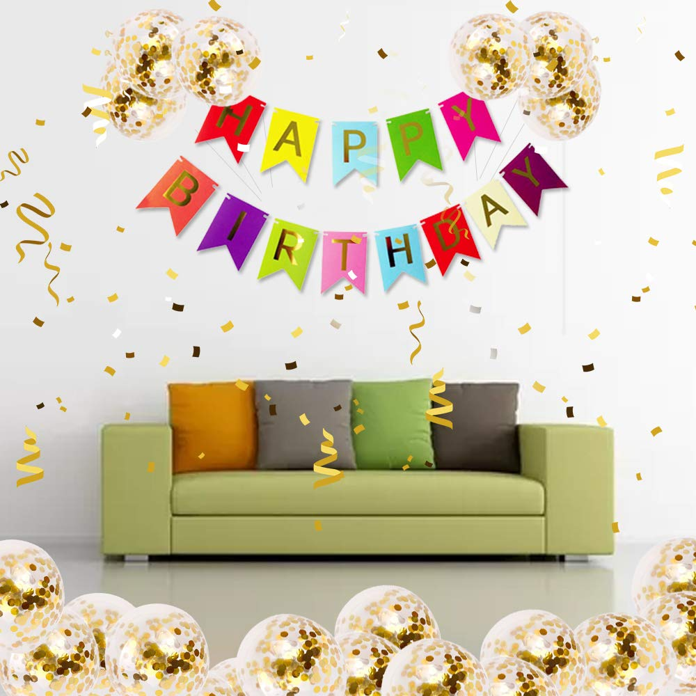 Meowoo Happy Birthday Banner Colourful Birthday Bunting with 5 Gold Confetti Latex Balloons Perfect for Birthday Party Decorations