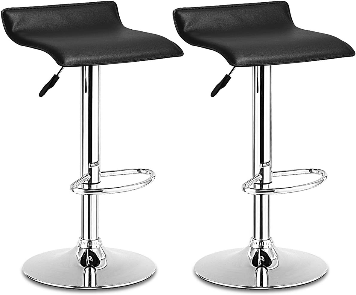 COSTWAY Set Swivel Bar Stools Adjustable Contemporary Modern Design Chrome Hydraulic PU Leather Backless of 2 Black