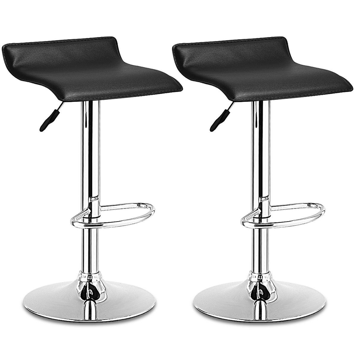 COSTWAY Set Swivel Bar Stools Adjustable Contemporary Modern Design Chrome Hydraulic PU Leather Backless of 2 Black