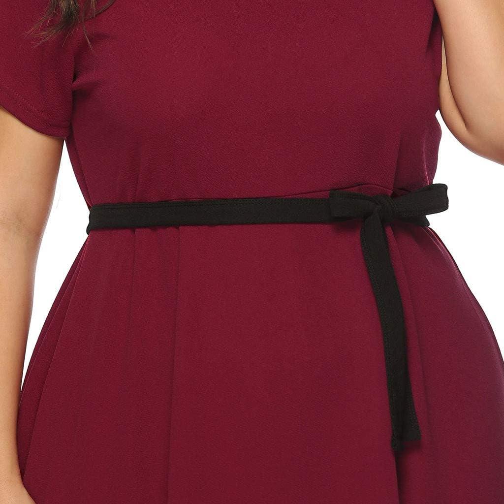 Plus Size Dress for Women Short Sleeve Round Neck Irregular Hem Elegant Flowy Dresses with Belt for Party,Club