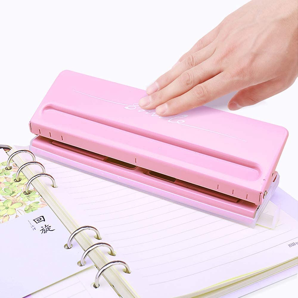 6-Hole Puncher,Entweg Adjustable 6-Hole Desktop Punch Puncher for A4 A5 A6 B7 Dairy Planner Organizer Six Ring Binder with 6 Sheet Capacity