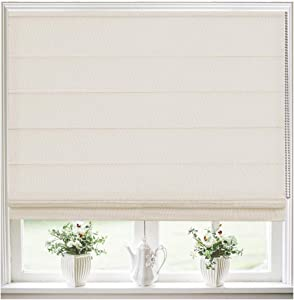 Roman Shades Window Blinds, Beige White Lined Blackout Window Roman Shades, Fabric Custom Corded Roman Shades for Home, Window, French Door, Kitchen