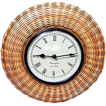 40a54191478d Buy Purpledip Analog 30 cm Dia Wall Clock (With Glass) with bamboo braids Online  at Low Prices in India - Amazon.in