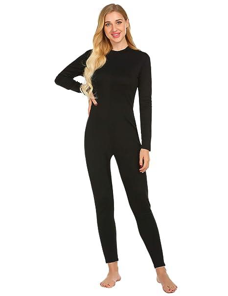 cbe7e3a9c2bb Ekouaer Ladies One Piece Pajama Lightweight Thermal Underwear ...