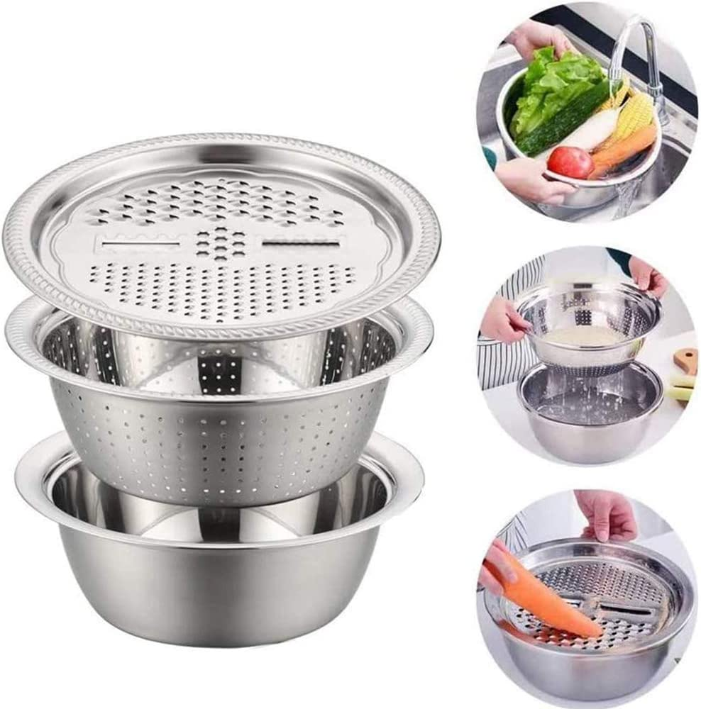 3 IN 1 26//28cm Home Kitchen Portable Multifunction Stainless Steel Grater Basin