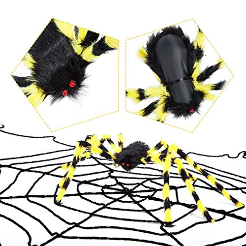 49Inch Giant Halloween Black Spider Realistic Plush Color Spider Scary Spider Toys for Kids Halloween Party Decorations or Haunted House Outdoor Yard Decor Props (49Inch, (Halloween Decorations 2017 Scary)