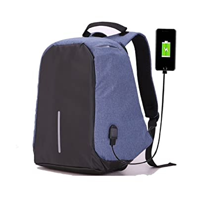 Tanchen Waterproof Anti-theft Travel Backpack Business Laptop Book School Bag with USB Charging Port For College Students Men Women (Blue)