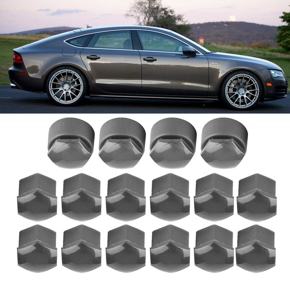 Color : Grey Wheel Nut Covers-20pcs 17mm Nut Car Wheel Auto Hub Screw Protection Anti-theft Cover Cap for Audi