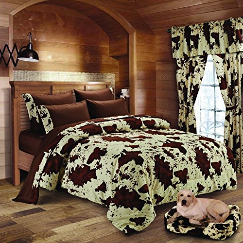 20 Lakes Super Soft Microfiber Rodeo Cow Print Comforter, Sheet, Pillowcase Set (Full, Chocolate) by 20 Lakes