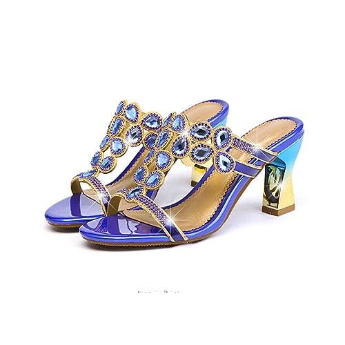 DYTTO Zapatillas De Mujer Diamante Crysta Joya Bling 3D Diamante De Imitación Gradiente Cuadrado Alto Tacón Brillante Piel Genuina Antideslizante Durable ...