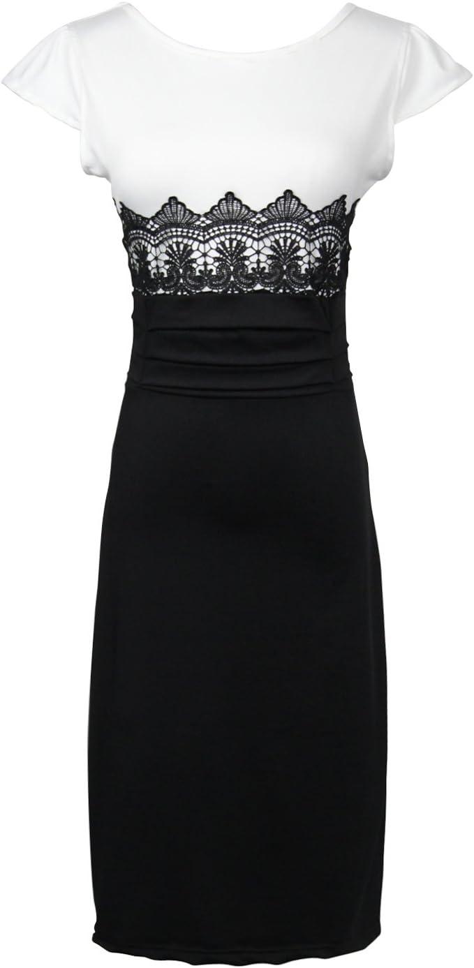 Eng Anliegendes Elegant Damen Abendkleid Party Kleid Studio Kleid Mit Kontrast Farbe Weiss Und Schwarz Amazon De Bekleidung
