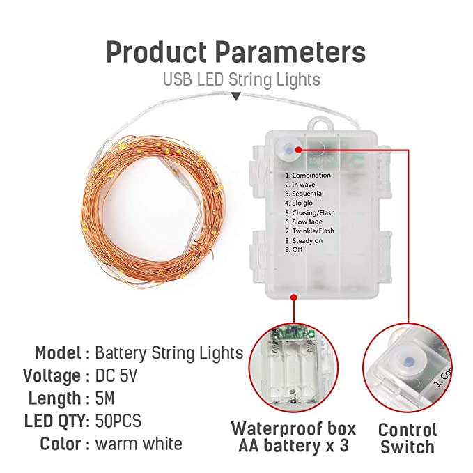 LED String Lights, [2 Pack]16.6FT 50 LED Battery Operated with ... on 4 pin wiring diagram, parallel dual battery installation diagram, boat diagram, 4 lights wiring diagram, 4 speaker wiring diagram,