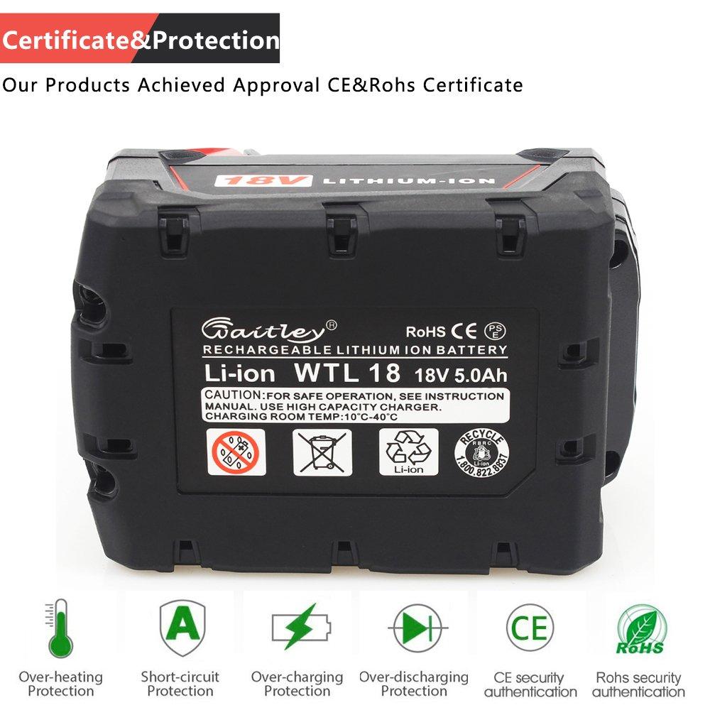 Waitely 18V 6.0Ah//6000mAh Li-ion Bater/ía de repuesto para Milwaukee M18 M18B M18B2 M18B4 M18BX 48-11-1811 48-11-1815 48-11-1820 48-11-1822 48-11-1828 48-11-1840