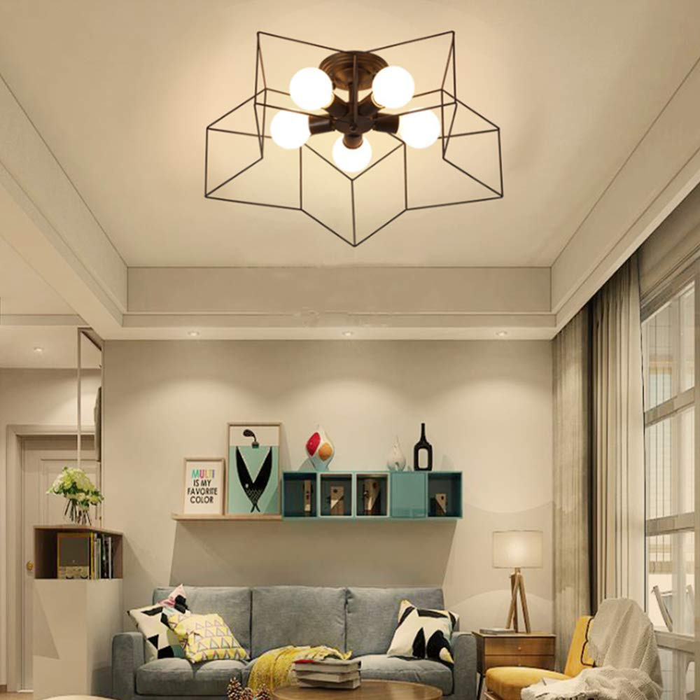 Ladiqi 5 Lights Semi-Flush Mount Pendant Ceiling Light Fixture Close to Ceiling Light Chandelier with Pentagram Metal Cage for Bedroom Living Room