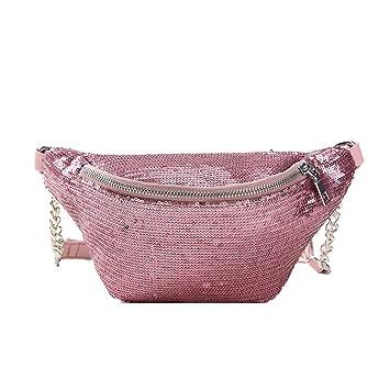 b0f04ba510183a BESTOYARD Mode Gürteltasche Shiny Bauchtasche Taille Tasche Sporttasche  Cross Body Handtasche für Frauen Mädchen (Rosa