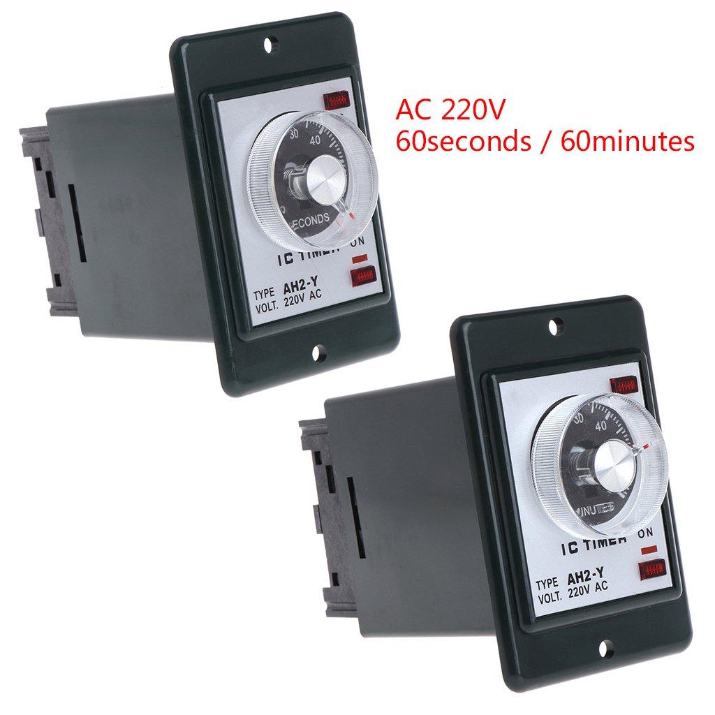 Yyooo 0-60 Sekunden//Minuten Einschaltverz/ögerung Zeitrelais Mit Sockel AC 220V AH2-Y