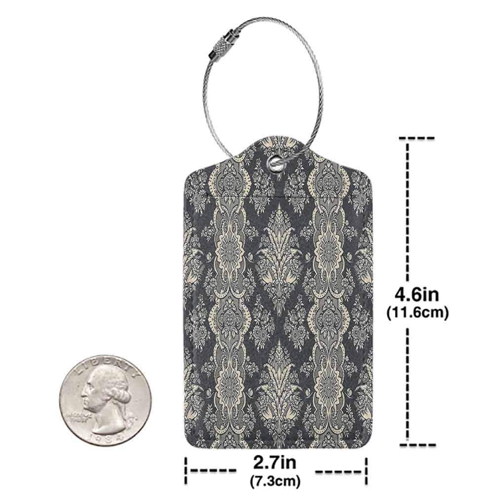 Personalized luggage tag Damask Victorian Style Baroque Classic Pattern with Ornamental Floral Leaves Image Easy to carry Charcoal Grey Cream W2.7 x L4.6