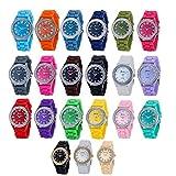 Wholesale Lots of 10pcs Unisex Men Women Girl Ultra-thin Silicone Jelly Gel Quartz Wrist Watches