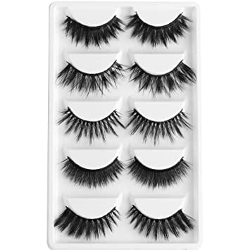 bc39ff98210 Amazon.com : 5 Pairs Multipack 3D Soft Mink Hair False Eyelashes Wispy  Fluffy Long Lashes Natural Eye Makeup Faux Eye Lashes e70 : Beauty