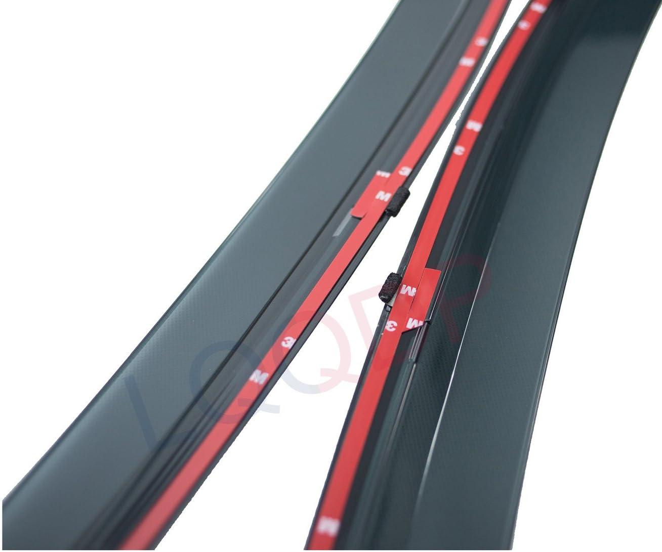 LQQDP 4pcs Smoke Tint With Chrome Trim Outside Mount Tape On//Clip On Style PVC Sun Rain Guard Vent Window Visors Fit 15-20 Nissan Murano