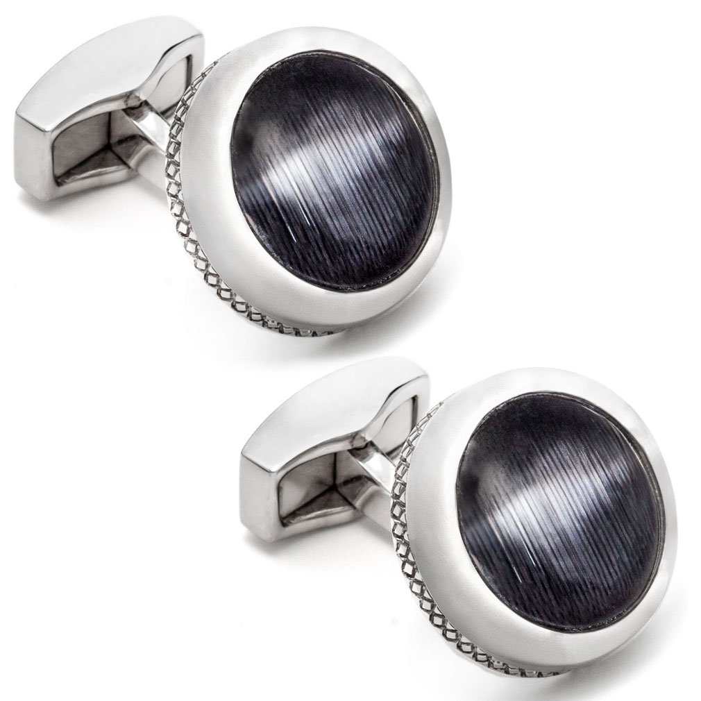 Tateossian Men's Black Cushion Round Fibre Optic Cufflinks CL1121