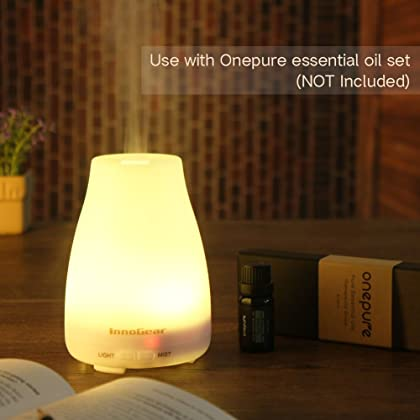 InnoGear Aromatherapy Essential Oil Diffuser Portable Ultrasonic Diffusers with Color LED Lights Changing and Waterless Auto Shut-off Function for Home Office Bedroom Room, 100 mL