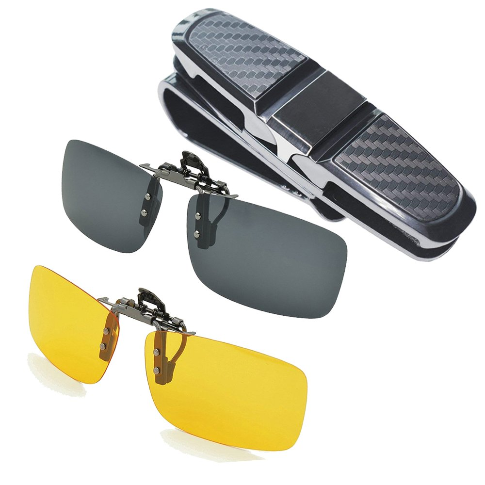 Aioink 2-Piece Polarized Clip-on Sunglasses and Car Glasses Holder for Sun Visor, Unisex Polarized Clip on Glasses for Driving and More by Aioink