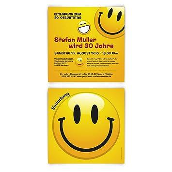 Einladungskarten Zum Geburtstag 10 Stück Smiley Gelb Lächeln