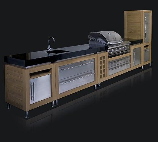 Ingarden Outdoor Kitchen Oak Stainless Steel Granite Outdoor Kitchen Unit Run With Bbq Sink Amazon Co Uk Garden Outdoors