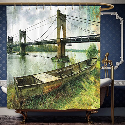 Wanranhome Custom-made shower curtain Apartment by Bridge and Old Boat on Riverside Distressed Paint Style Nostalgic City Retro Picture Green Grey For Bathroom Decoration 72 x 88 inches