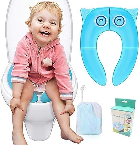 Asiento de Inodoro Plegable para Ni/ños Port/átil Reductor Tapa WC Beb/és Asiento Inodoro con Bolsa de Almacenamiento para Beb/és Ni/ños Peque/ños Azul