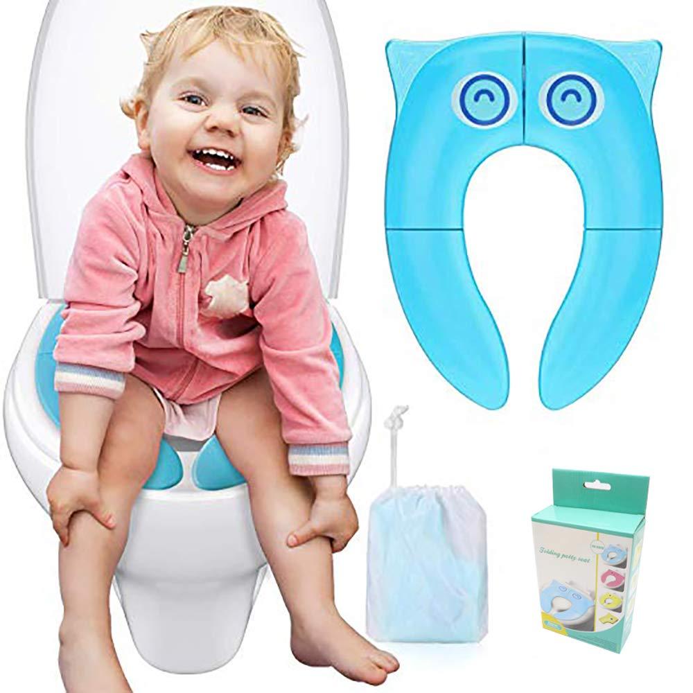 Asiento de Inodoro Plegable para Ni/ños /Reductor WC Plegable Inodoro Portatil para Ni/ños con 4 Almohadillas de Silicona Antideslizantes y 1 Bolsa de Transporte (Azul)