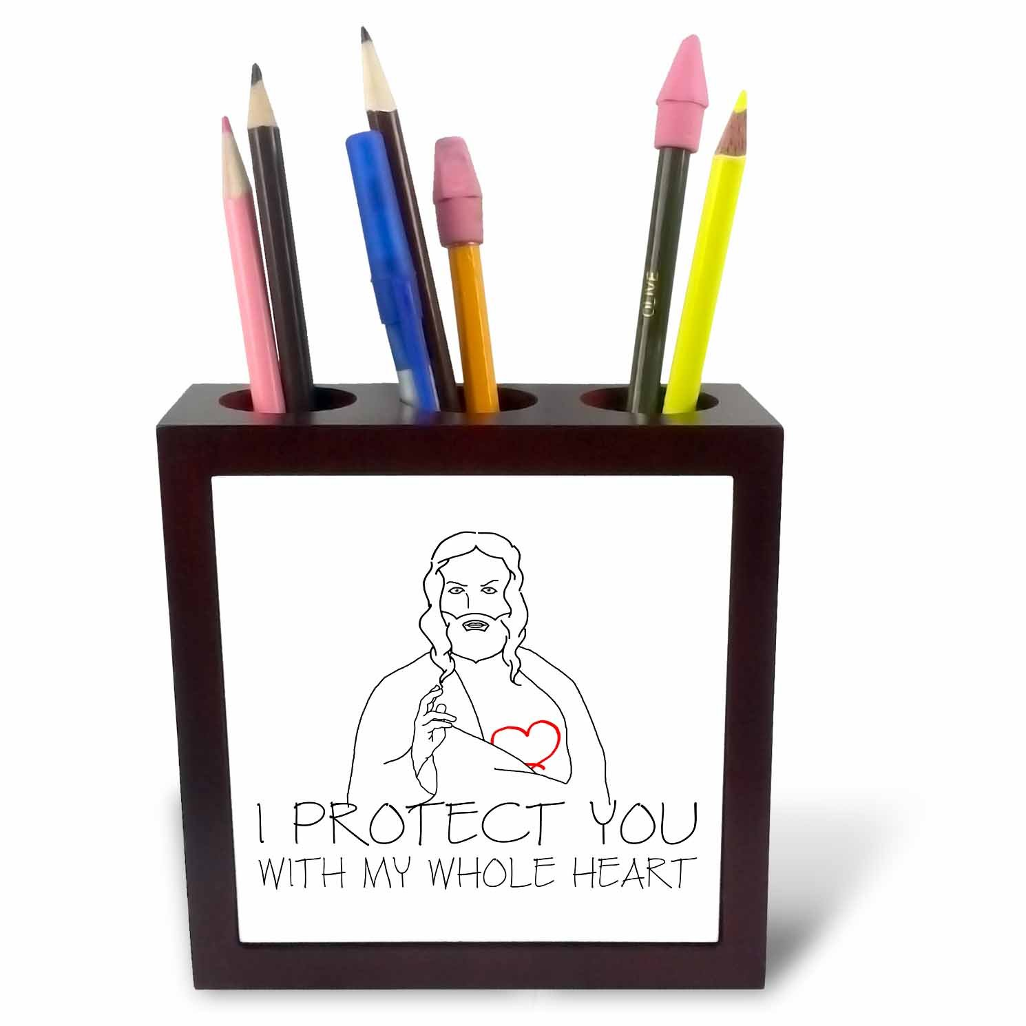 3dRose Alexis Design - Christian - Jesus Christ. I protect you with my whole heart. Black on white - 5 inch tile pen holder (ph_271959_1)