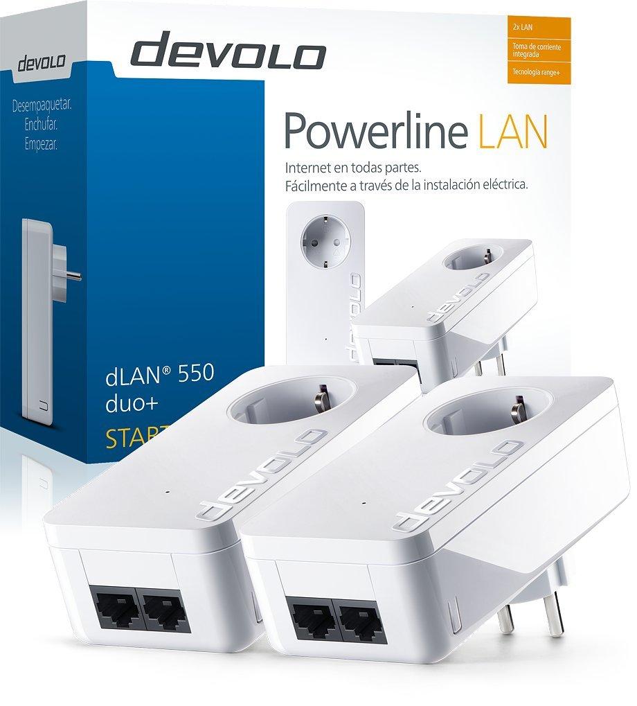 Devolo dLAN 550 duo+ - Kit de inicio de adaptador de comunicación por línea eléctrica PLC (500 Mbps, 2 adaptadores,...
