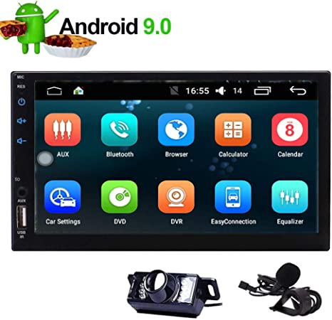 EinCar Car Radio Android 9.0 Pie OS GPS Car Stereo Double 2 Din Quad Core 1.6GHz 16GB In Dash 7 inch Capacitive Touch Screen Head Unit Support WiFi Mirrorlink 1080P Bluetooth Video Player