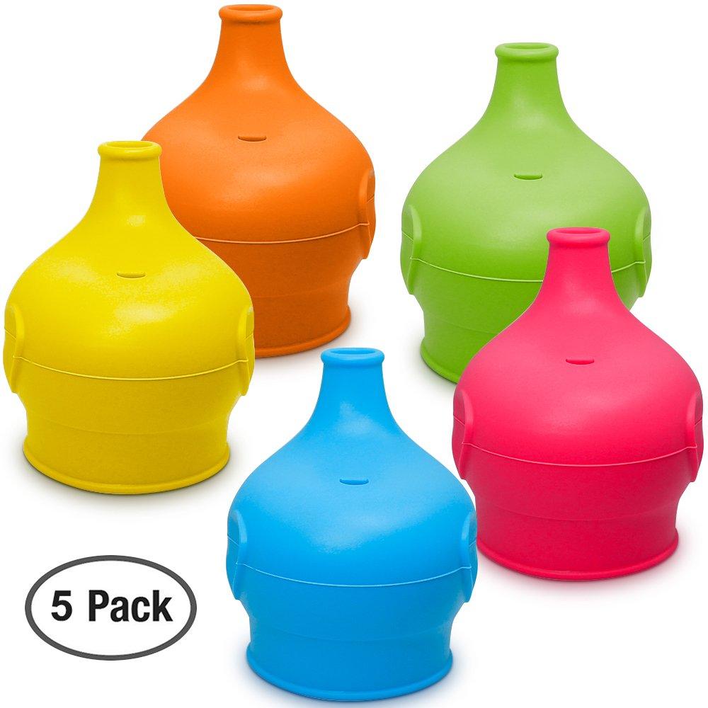 Max Silikon Auslauf Macht Cup in spritzwassergesch/ützte Sippy Tasse f/ür Babys und Kleinkinder 5 Pack Silikon Sippy Cup Deckel FDA Genehmigt.