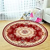 Mediterranean Pastoral Style Round Non-slip Carpet Environmentally Friendly Tasteless Chair Mats, Creative Living Room Can Be Machine Wash Home Carpet ( Color : Red , Size : 100cm )