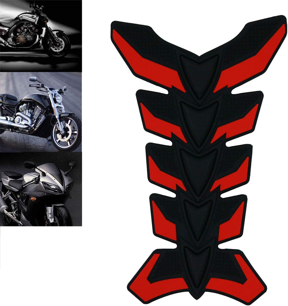 ROADMANSO Motorcycle Fuel Tank Decals 3D Rubber Protector Pad Sticker Black Fit for Harley-Davidson Honda Suzuki Yamaha